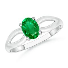 Angara Tapered Shank Emerald Solitaire Ring With Diamond Accents M1ZyEeo