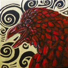 Celtic Raven Crow Bird Totem Original Painting by Artist Lynnette Shelley