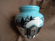 Matthew Adams signed Sascha Brastoff Alaska Round Jar with Lid Log Cabin USA Alaska, Jar, Cabin, Dishes, Dining, Retro, Home Decor, Food, Decoration Home