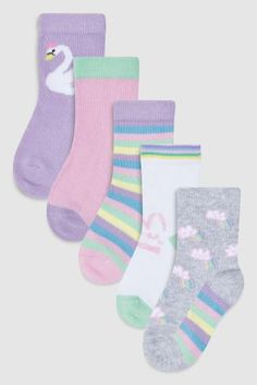 Buy Pink/Lilac Rainbow Socks Five Pack (Younger) from the Next UK online shop Kids Socks, Baby Socks, Kids C, Baby Kids, Rainbow Socks, Retro Home, Toddler Girl, Shopping, Footwear
