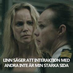 """Saga Norén in the bridge season 3 """"Linn säger att interaktion med andrea inte är min starka sida"""" (bron/broen)"""