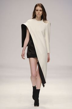 Minimalist dress in contrasting colours with sculptural shape & experimental 3D silhouette; structured fashion design // Tamara Chung