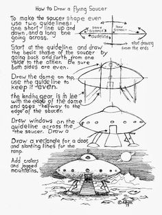 How to Draw Worksheets for The Young Artist: How To Draw A Flying Saucer Worksheet, Free.