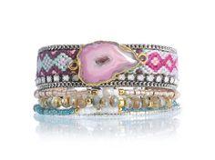 One of a kind pink agate slice multistrand bracelet - Bohemian Jewelry - Boho bracelet - Hippie jewelry