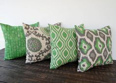 """Throw pillow covers 18"""" x 18"""" Set Of Four green gray beige ikat batik cushion cover pillow sham on Etsy, $84.50 AUD"""