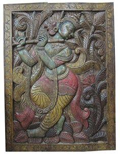 "India Sculpture Yoga Carving Meditation Room Fluting Krishna Hand Carved Wall Panels 36"" X 36"" Mogul Interior http://www.amazon.com/dp/B00ODQNH20/ref=cm_sw_r_pi_dp_l6grub0H3EG4A"