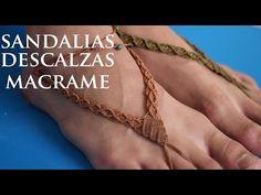 sandalia descalza en macrame - YouTube