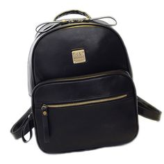 """Catkit Vintage Womens Preppy Style Tote Handbag Shoulder Bag Backpack Black. High quality faux leather, gold-tone hardware accents. Size Approx: 9.8""""(L)*13""""(H)*3.5""""(W). The shiny metallic logo adds charm to this backpack. Perfect for both school students as bookbag or for travel purpose. It can hold 15"""" laptop computers, tablets, etc. Large capacity to hold your belongings and valuables with great security."""
