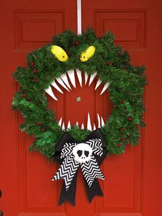 Disney Haunted Mansion / Nightmare Before Christmas Holiday Halloween / Christmas Wreath - One Of a Kind! Brand New!