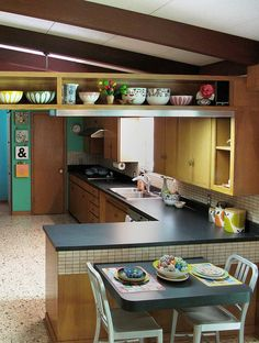 Could we expose the beams in the kitchen??? I like the display area.  {modern mid century kitchen} bits of Cathrineholm + Orla
