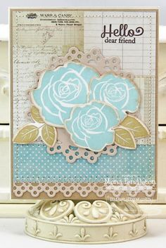 Blooming Roses; Blissful Butterflies; Rose Bouquet Die-namics; Dainty Doily Duo Die-namics; Dainty Lace Border Die-namics - Mona Pendleton