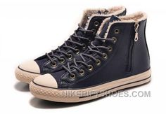 da41b498f2277c Blue CONVERSE Winter Boots Wool Inner Side Zip High Leather Top Deals 8ib5P