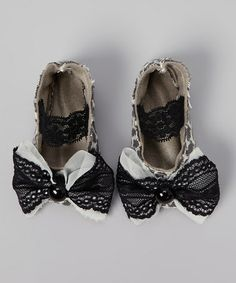 Take a look at this Black & Brown Leopard Lace Bow Flat by FollyParade on #zulily today!