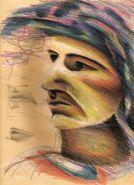 Retrato 21x27 cm. Lápices de colores sobre papel.