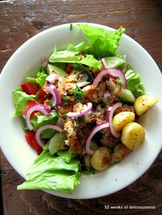 Summer potato salad with fish