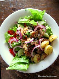 Summer potato salad with fish