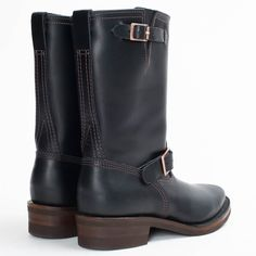 The Boss Engineer Boot made in USA from Black tie domain leather, brown upper stitching, black outsole stitching, Vibram 700 outer sole motorcycle patrol toe. Mens Redwing Boots, Tall Boots, Men's Boots, Red Wing Boots, Engineer Boots, Black Tie, Boss, Engineering, Heels