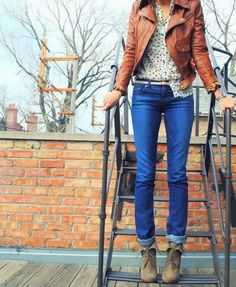 Leather Brown Jacket With Jeans and Chiffon Shirt