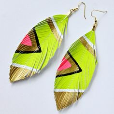 Neon Aztec - Hand Painted Faux Leather Earrings