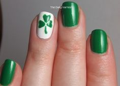 St. Patrick's Day nail art - to do the shamrock make 3 hearts with the large end of a bobby pin and draw the line with a toothpick. #CelebrateStPatricksDay