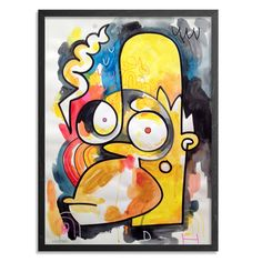 Homer by Jon Burgerman- Abstract Neo Primitive depiction of cult classic cartoon family monarch Homer Simpson of the TV show The Simpsons. Homer is styled in bold colors and thick lines flanked by strange shapes and patterns. Original one of a kind hand painted mixed media artwork by famous artist Jon Burgerman.