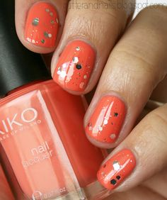 short nails and a fun look that doesn't consist of a flower or butterfly.