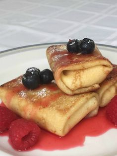 Cheese Blintzes with Fresh Raspberry Sauce The perfect recipe for Shavuot.