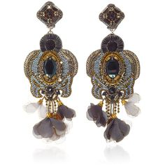 Ranjana Khan Gunmetal Gold Earrings ($395) ❤ liked on Polyvore featuring jewelry, earrings, yellow gold earrings, ranjana khan, gun metal earrings, gunmetal earrings and gold jewelry