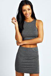 Laureie Slash Neck Crop Top & Mini Skirt Co-Ord Set