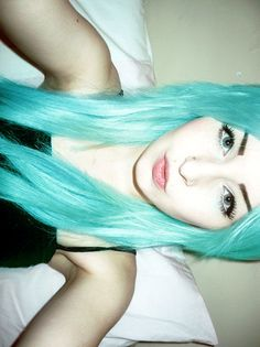 Bright pastel blue hair