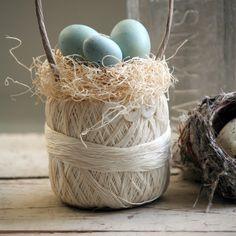 "Crochet thread ball ""basket"" farmhouse inspired spring decor by Alice W."