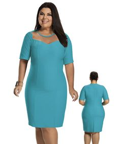 Hiroshima, Plus Size Fashion, Ideias Fashion, Cold Shoulder Dress, High Neck Dress, Outfits, Clothes, Dresses, Women