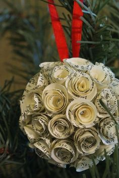 white as linen: Christmas Inspiration -- Lovely! Could make with music pages as well.