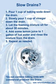 Natural home care for slow drains @Erica Zahirniak. Maybe this will fix our problem! lol