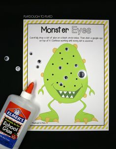 Fun fine motor kids' activity! Cover each black dot with a dot of glue and a googly eye.