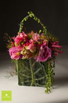fushia flower purse with silver leaf, Power of the Purse, Françoise Weeks