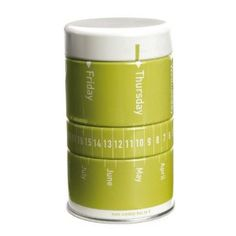 Mini Calendar Green Tin Container for Office Decor with Pushpins, Paper Clips and Elastic Bands (Office Product)  http://www.99homedecors.com/  B00153948U