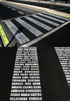 Zebra Crossing Memorial (close-up) by Filipe Graça & Hélder Romão Passage Piéton, Paving Pattern, Pedestrian Crossing, Road Markings, Paving Design, Zebra Crossing, Street Marketing, Environmental Graphics, Street Furniture