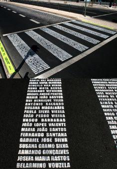 Christchurch earthquake memorial idea ....  Zebra Crossing Memorial by Filipe Graça & Hélder Romão