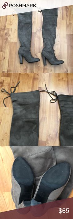 "Steve Madden ""Gorgeous"" over the knee boots Style name is Goregeous. Size 5. Used once indoors. I had the same boots before and are amazing! These were my sisters. Didn't fit her. Excellent condition. Steve Madden Shoes Over the Knee Boots"
