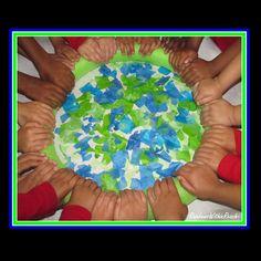 Earth Day Art project, collaborative Art project, bulletin board, Preschool, Headstart, Spring art
