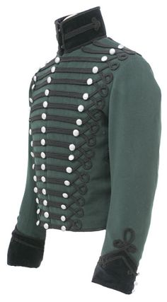 CT5044 95th Rifles Officers Tunic  made from Rifle Green wool with black velvet collar and cuffs. All the lace is black russia wool lace as per original.