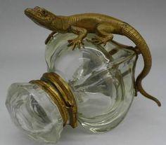 BACCARAT c.1860 BRONZE LIZARD SALAMANDER GLASS INKWELL