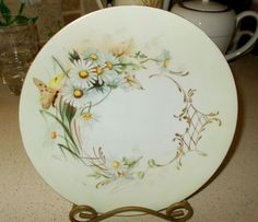 """Antique Jean Pouyat JPL Limoges Hand Painted Butterfly & Daisies Plate 8.25"""" Exc #JeanPouyatJPLLimogesFrance"""