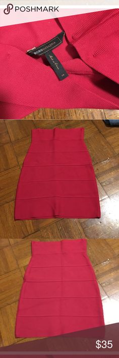BCBGMaxAzria XSred knit bandage skirt gem @ $35 If you have the body flaunt it ! Red BCBGMaxAzria red bandage knit skirt XS . You can dance 💃 the night away & not worry about it losing it stretch orig price $108 a gem @ $35🦋🌈👠 BCBGMaxAzria Skirts Pencil