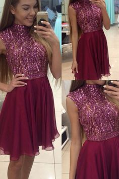 awesome Burgundy Homecoming Dress,High Neck Prom Dress, Beading Party Dress,Homecoming D... by http://www.globalfashionista.xyz/high-fashion/burgundy-homecoming-dresshigh-neck-prom-dress-beading-party-dresshomecoming-d/