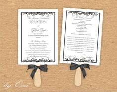 Printable Wedding ceremony fan program template Black by Oxee