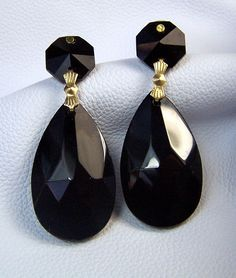 Large jet black earrings crystal prisms  with gold  by mandalarain, $22.00