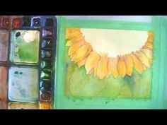 Paint a Sunflower in Watercolor Part 3: Wet In Wet Background