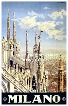 Milano Milan Italy Vintage Travel Poster by PaperTimeMachine, $6.99